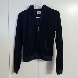 Juicy Couture Velvet Zip Up Hooded Sweatshirt